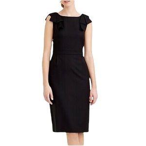 J.Crew Bow Shoulder Little Black Dress All-Seasons Super 120 Wool Size 0P